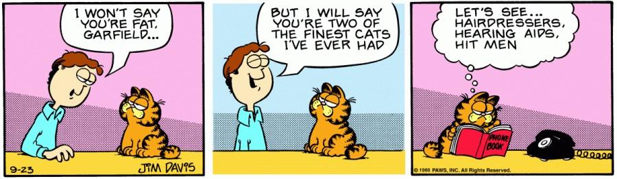 Оригинал комикса про Гарфилда от 23 сентября 1980 года