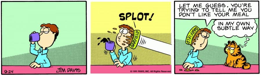 Оригинал комикса про Гарфилда от 24 сентября 1980 года