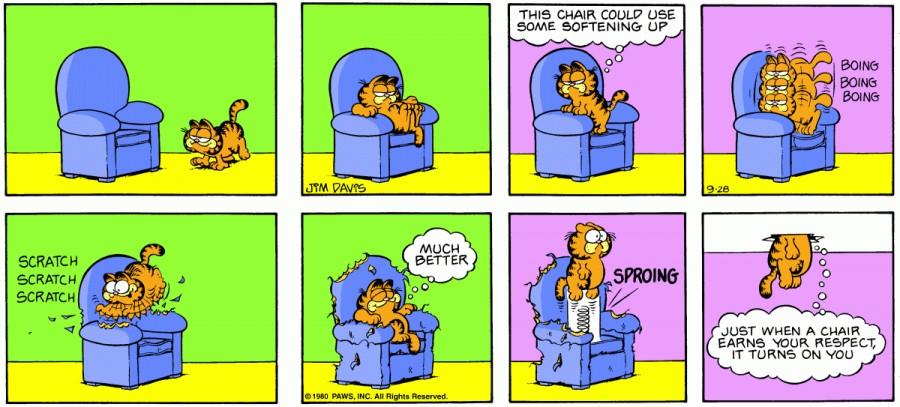 Оригинал комикса про Гарфилда от 28 сентября 1980 года