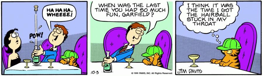 Оригинал комикса про Гарфилда от 03 октября 1980 года