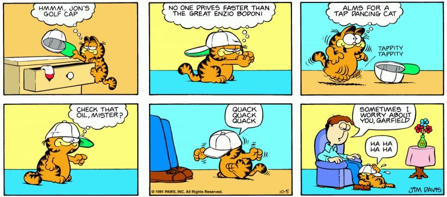 Оригинал комикса про Гарфилда от 05 октября 1980 года