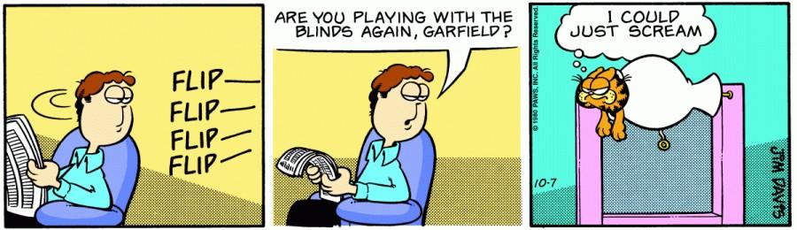 Оригинал комикса про Гарфилда от 07 октября 1980 года