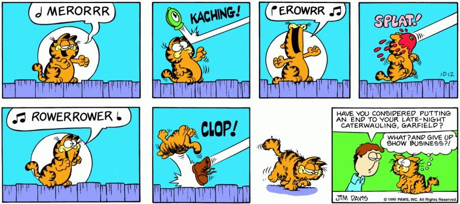 Оригинал комикса про Гарфилда от 12 октября 1980 года