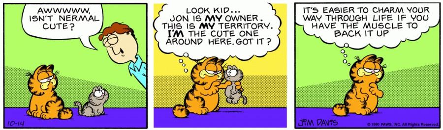 Оригинал комикса про Гарфилда от 14 октября 1980 года