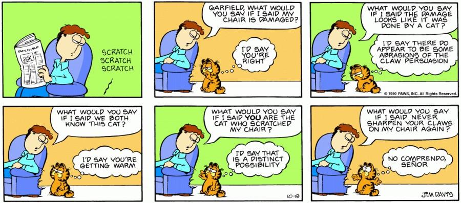 Оригинал комикса про Гарфилда от 19 октября 1980 года