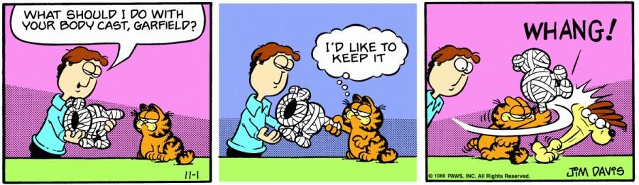 Оригинал комикса про Гарфилда от 01 ноября 1980 года