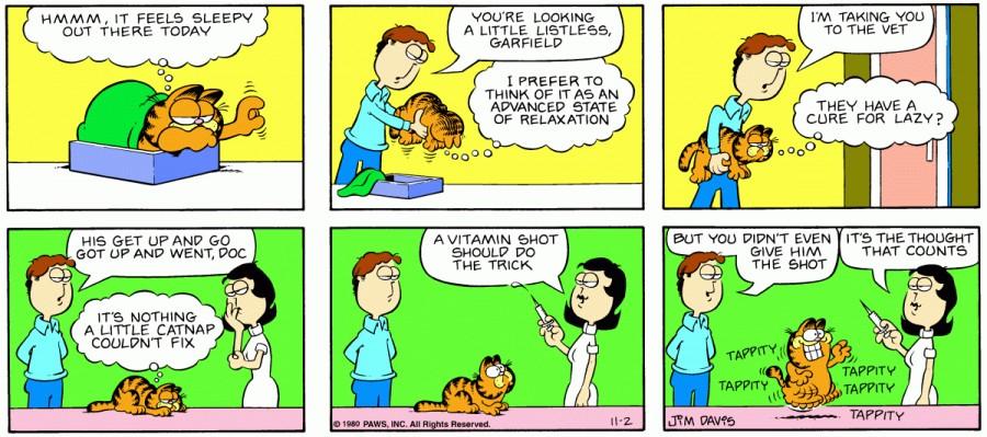 Оригинал комикса про Гарфилда от 02 ноября 1980 года