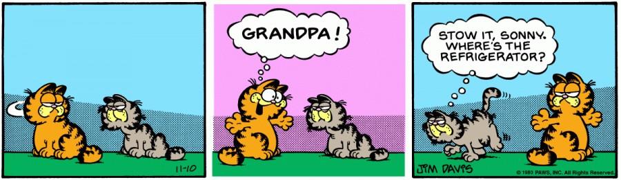 Оригинал комикса про Гарфилда от 10 ноября 1980 года