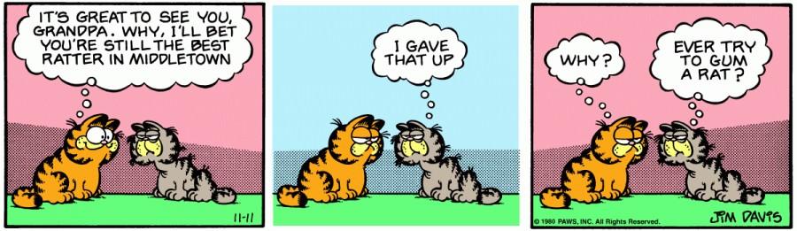 Оригинал комикса про Гарфилда от 11 ноября 1980 года