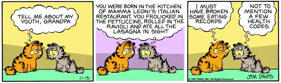 Оригинал комикса про Гарфилда от 13 ноября 1980 года