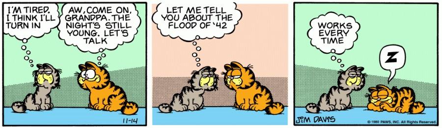 Оригинал комикса про Гарфилда от 14 ноября 1980 года