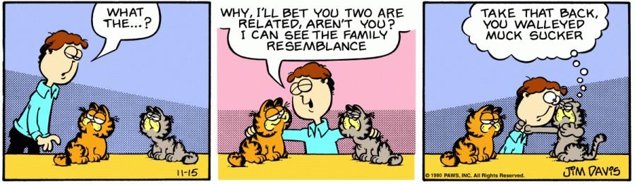 Оригинал комикса про Гарфилда от 15 ноября 1980 года