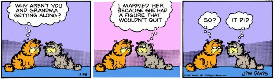 Оригинал комикса про Гарфилда от 19 ноября 1980 года
