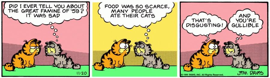 Оригинал комикса про Гарфилда от 20 ноября 1980 года