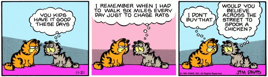 Оригинал комикса про Гарфилда от 21 ноября 1980 года