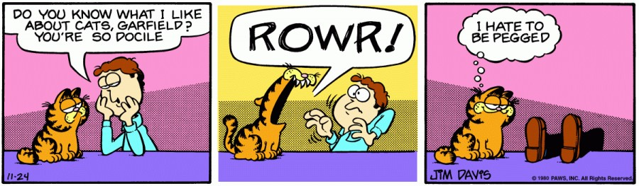 Оригинал комикса про Гарфилда от 24 ноября 1980 года