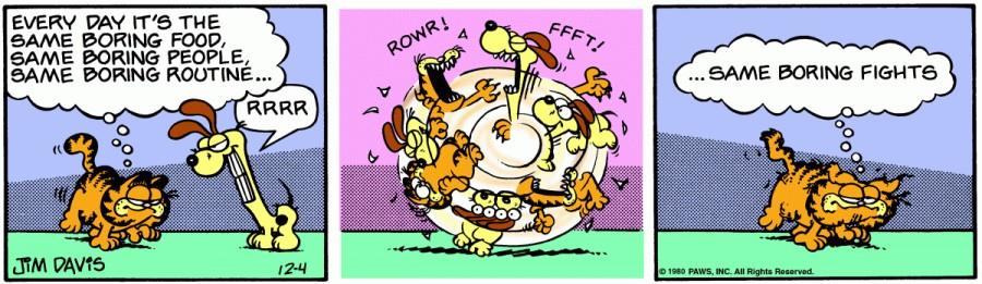 Оригинал комикса про Гарфилда от 04 декабря 1980 года
