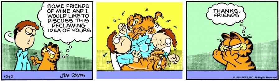Оригинал комикса про Гарфилда от 12 декабря 1980 года