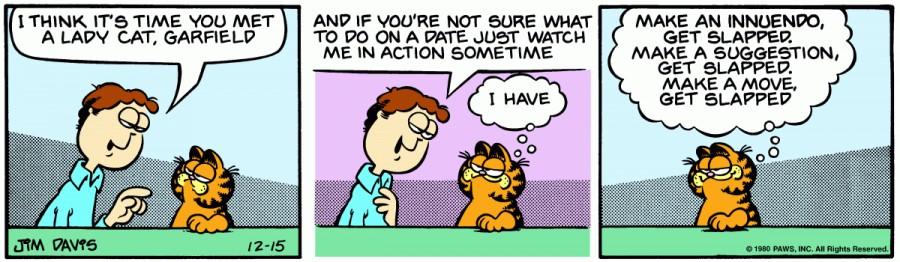 Оригинал комикса про Гарфилда от 15 декабря 1980 года
