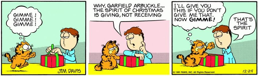 Оригинал комикса про Гарфилда от 24 декабря 1980 года
