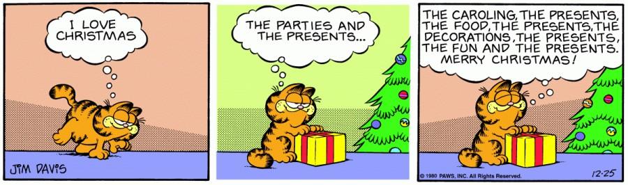 Оригинал комикса про Гарфилда от 25 декабря 1980 года