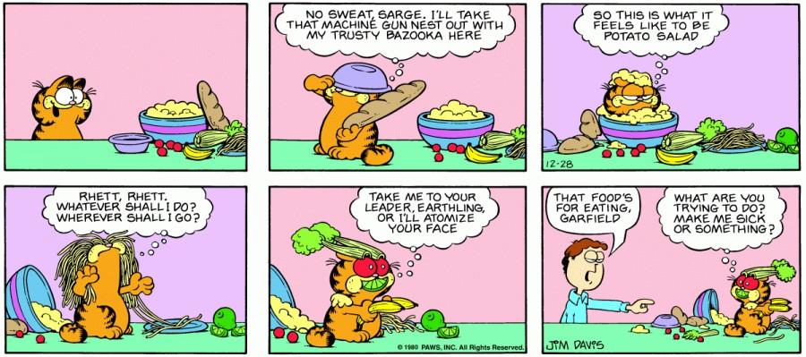 Оригинал комикса про Гарфилда от 28 декабря 1980 года