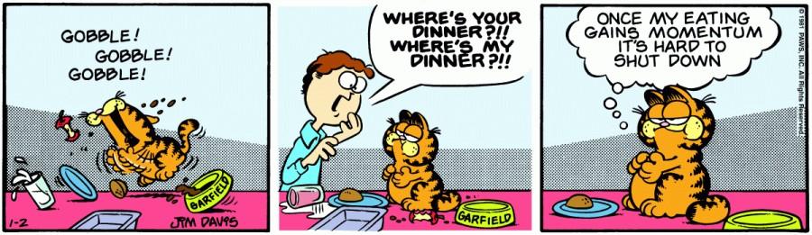 Оригинал комикса про Гарфилда от 02 января 1981 года