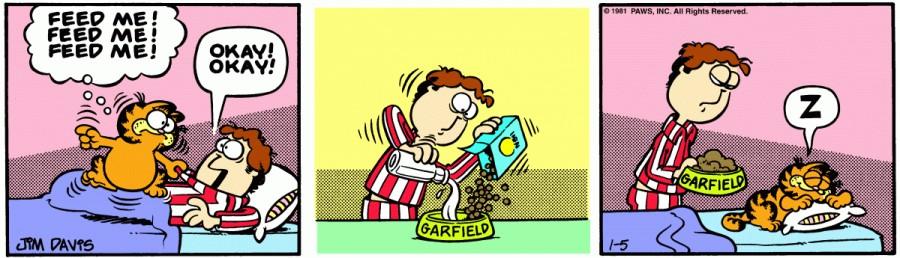 Оригинал комикса про Гарфилда от 05 января 1981 года