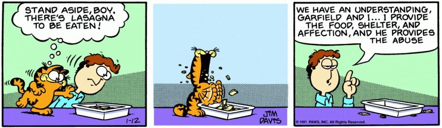 Оригинал комикса про Гарфилда от 12 января 1981 года