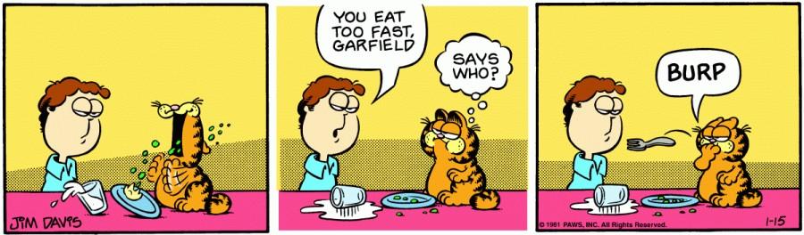 Оригинал комикса про Гарфилда от 15 января 1981 года