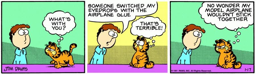 Оригинал комикса про Гарфилда от 17 января 1981 года