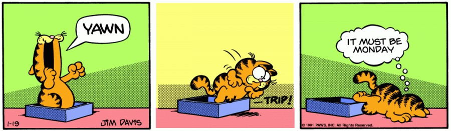 Оригинал комикса про Гарфилда от 19 января 1981 года