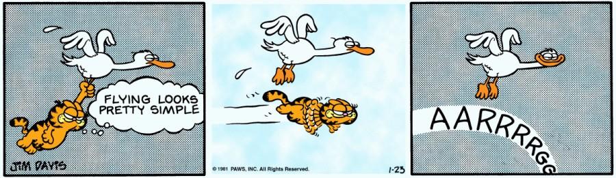 Оригинал комикса про Гарфилда от 23 января 1981 года
