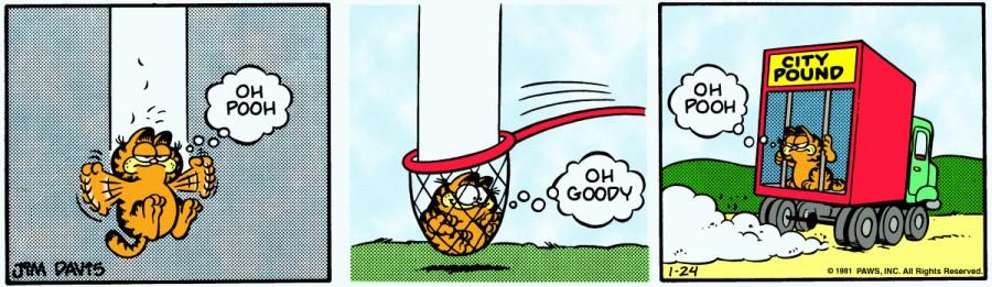 Оригинал комикса про Гарфилда от 24 января 1981 года
