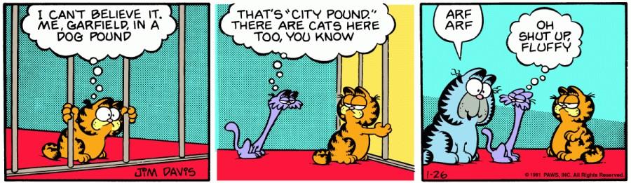 Оригинал комикса про Гарфилда от 26 января 1981 года