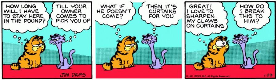 Оригинал комикса про Гарфилда от 29 января 1981 года