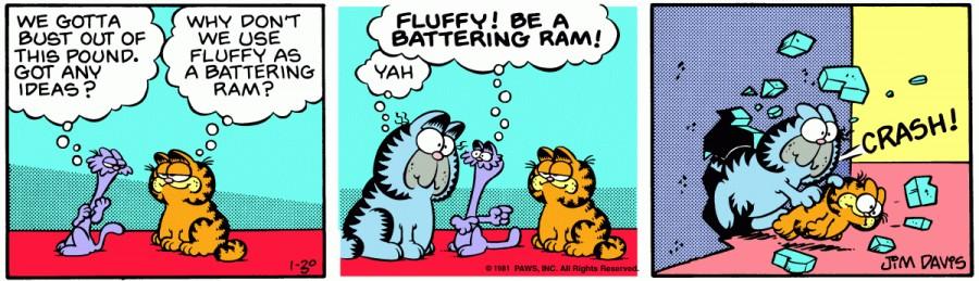 Оригинал комикса про Гарфилда от 30 января 1981 года