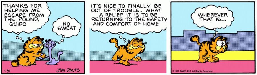 Оригинал комикса про Гарфилда от 31 января 1981 года