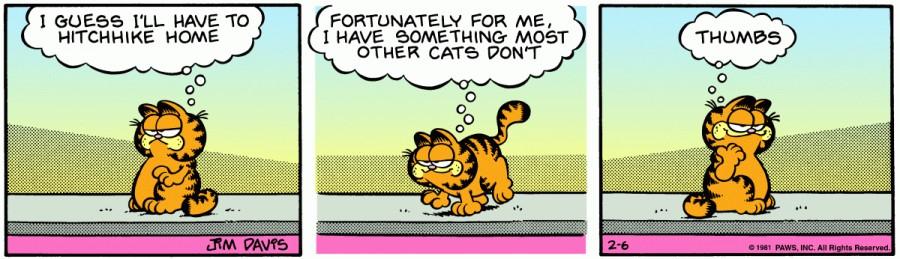 Оригинал комикса про Гарфилда от 06 февраля 1981 года