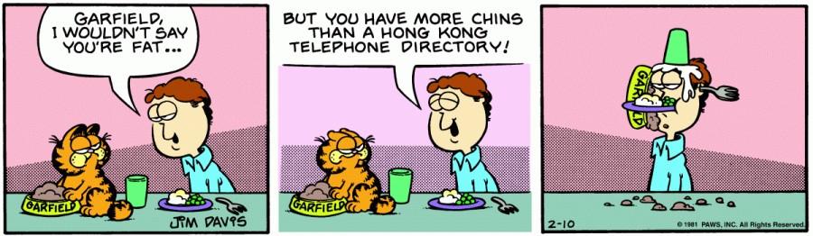 Оригинал комикса про Гарфилда от 10 февраля 1981 года