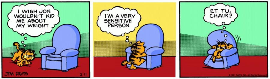 Оригинал комикса про Гарфилда от 11 февраля 1981 года