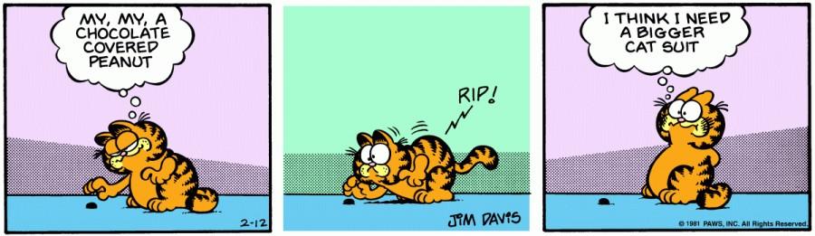 Оригинал комикса про Гарфилда от 12 февраля 1981 года
