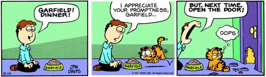 Оригинал комикса про Гарфилда от 14 февраля 1981 года