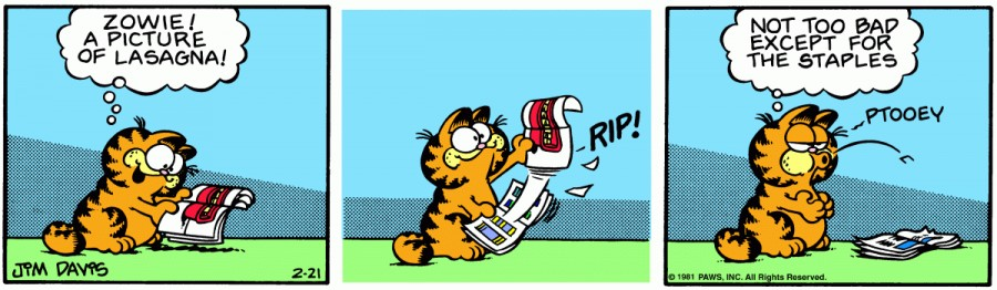 Оригинал комикса про Гарфилда от 21 февраля 1981 года