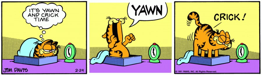 Оригинал комикса про Гарфилда от 24 февраля 1981 года