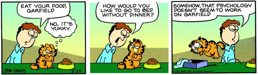 Оригинал комикса про Гарфилда от 25 февраля 1981 года