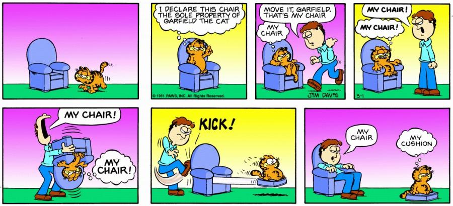 Оригинал комикса про Гарфилда от 01 марта 1981 года