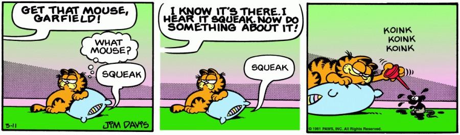 Оригинал комикса про Гарфилда от 11 марта 1981 года