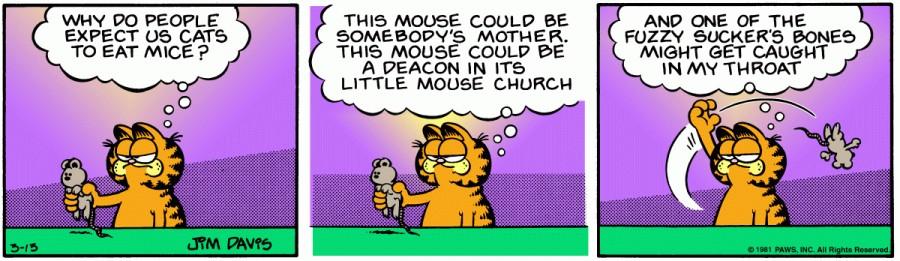 Оригинал комикса про Гарфилда от 13 марта 1981 года