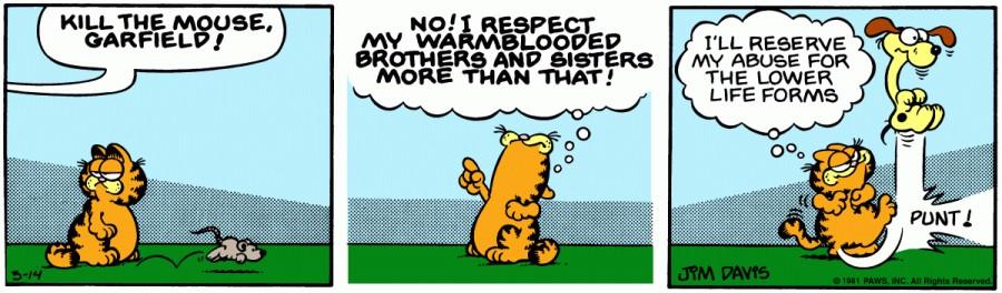 Оригинал комикса про Гарфилда от 14 марта 1981 года